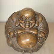Chinese Carved Stone Round Budai