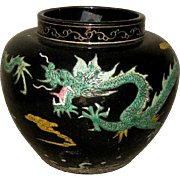 Chinese Ceramic Black Glazed vase with Green Dragons