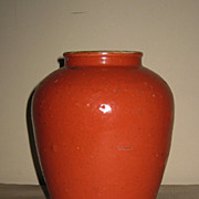 Chinese Orange Glazed Inside Painted Stoneware Jar