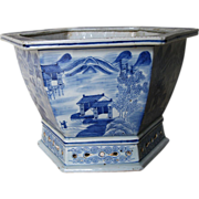 Antique Chinese Blue & White Porcelain Jardinière