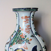 19th Chinese Famille-Verte Porcelain Fluted Vase