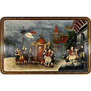 Chinese Reverse Painting on Glass of Palace Scene
