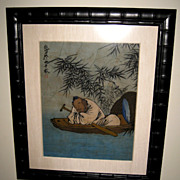 Chinese Painting Man Sleeping in a Boat