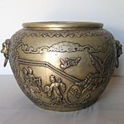 Chinese Large Bronze Jar with Animal Mask Handles