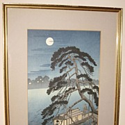 "Japanese Woodblock print of a ""Moonlit Night"""