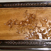Chinese Carved Wood Floral and Bird Table Screen