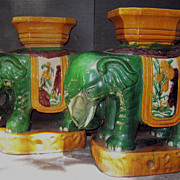 Pair Chinese Porcelain Elephant Garden Seats