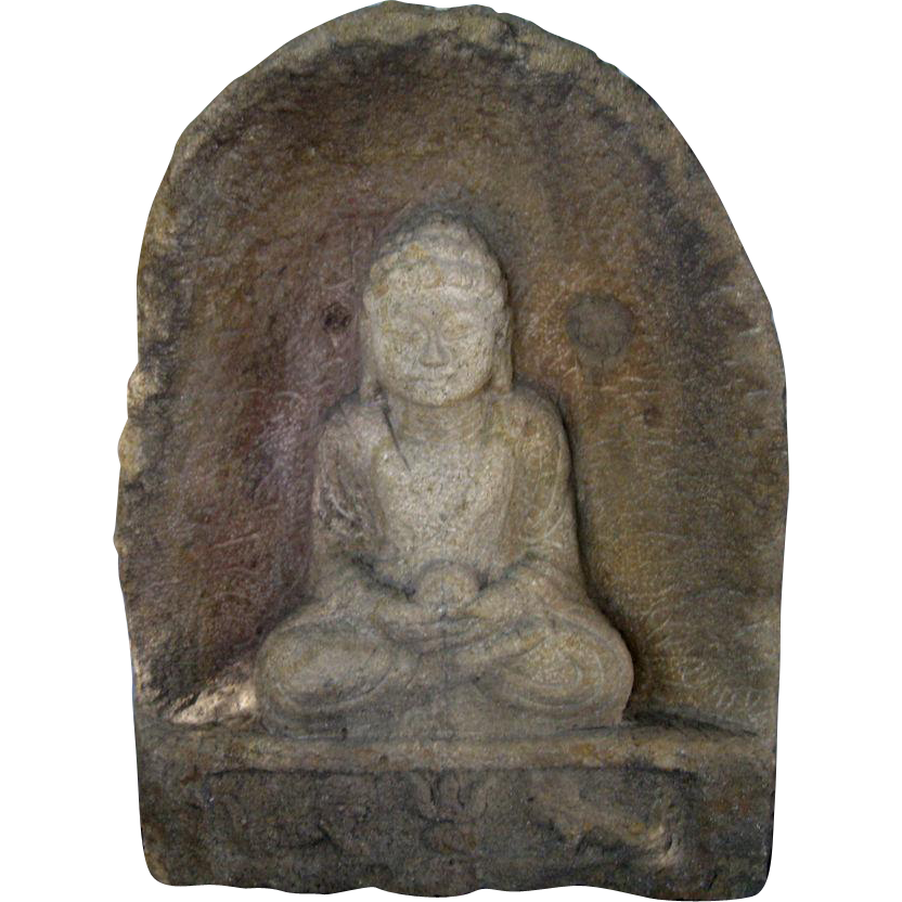 Large chinese carved stone buddha in niche from