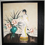Pair of Art Deco Style Still Life's with a Asian Theme