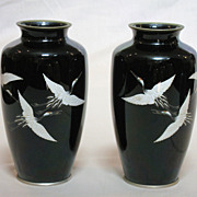 Pair of Elegant Japanese Cloisonné Vases with Cranes