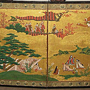 "Pair of Japanese Four-Panel Genroku Screens ""Tales of Genji"""