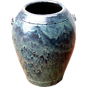 Massive Chinese Blue Flambé Glazed Stoneware Jar