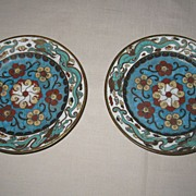 Pair of Japanese Cloisonné Plates