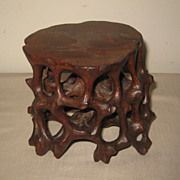 Chinese Carved Wood Table Pedestal