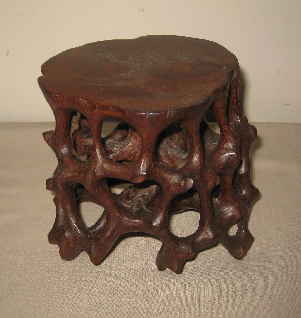 Chinese carved wood table pedestal from dynastycollections