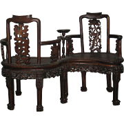 Antique Chinese Hardwood Tete-a-Tete