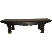 Antique Chinese Elm Wood Bench or Day Bed with Wide detailed Legs