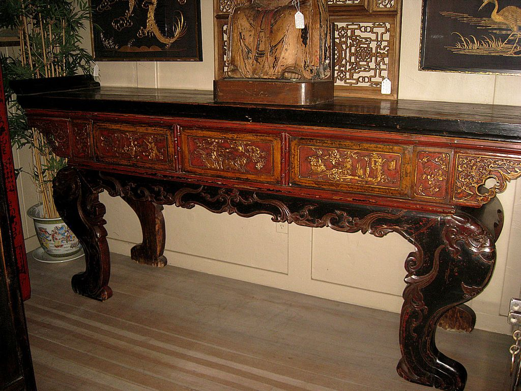 Chinese massive carved wood altar table from