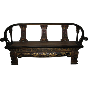 Chinese Exquisite Carved Wood High-Back Bench