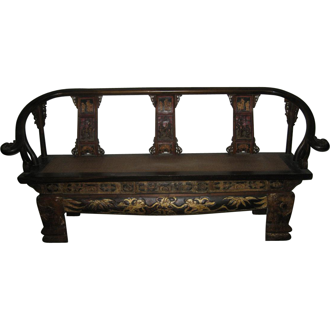 chinese exquisite carved wood highback bench