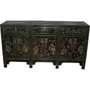 Beautifully Painted Chinese Low Cabinet in Black, Green and Gold