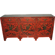 Chinese Painted Red and Gold Retangular Low Cabinet