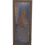 Framed Pastel Painting of a Seated Temple Lion  by McKinnon