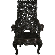 Japanese Carved Dark Wood Export Monkey Chair
