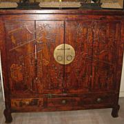 Exquisite Chinese Elmwood Cabinet