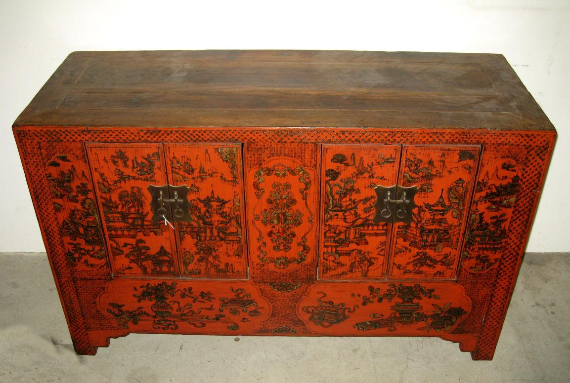 Antique chinese red lacquer small chest from dynastycollections on