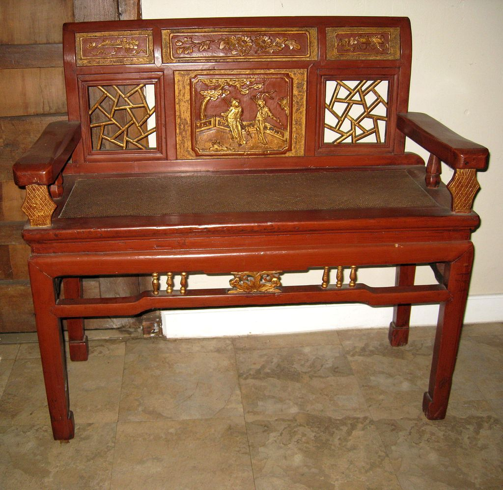 Chinese Red Gold Lacquer Wood Bench From Dynastycollections On Ruby Lane