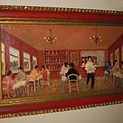 "Impressionistic Painting by Fortunato Voir ""Dining Scene"""