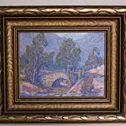 Oil Painting of a Landscape with a Bridge