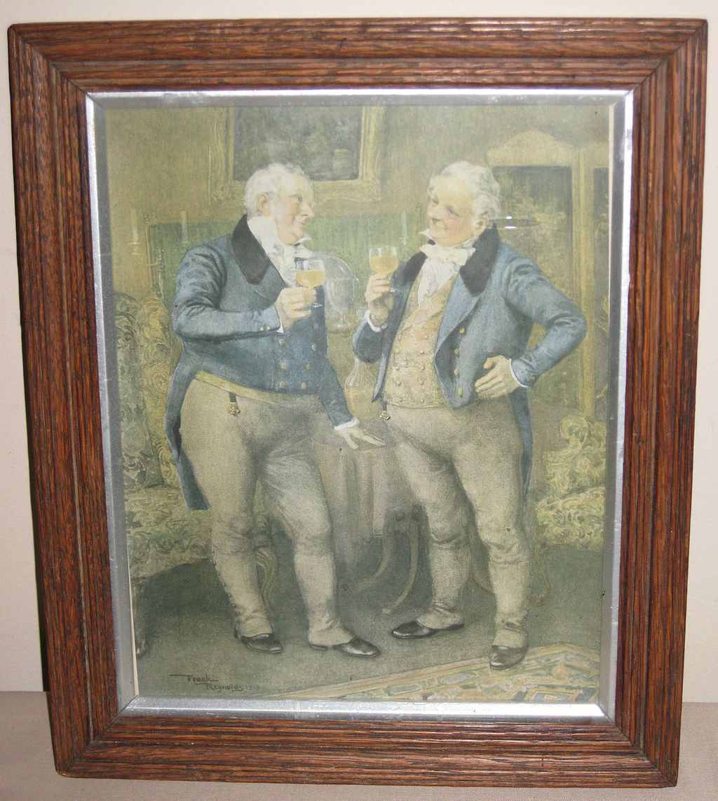 Framed English Print of two Gentlemen by Frank Reynolds