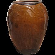 Large Amber Ceramic Pot with a Dragon Motif