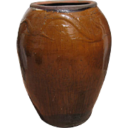 Large Amber Ceramic Pot with a Dragon Motif