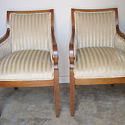 Pair of Danish Biedermeier Upholstered Arm Chairs