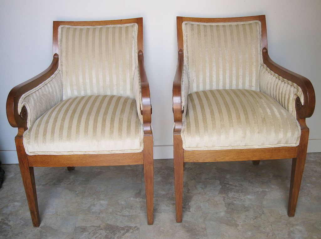 Pair of Danish Biedermeier Upholstered Arm Chairs