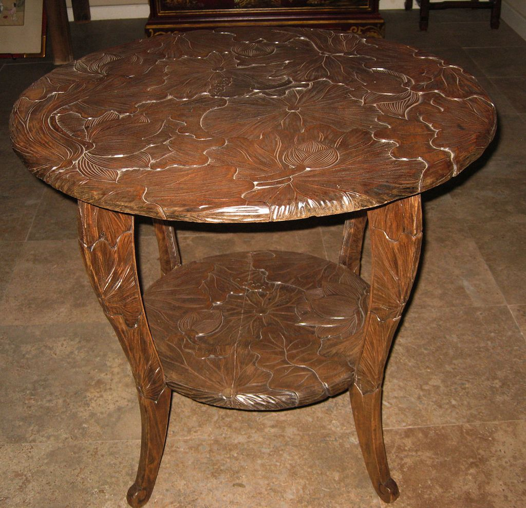 Superb Round Carved Wood Lotus Table