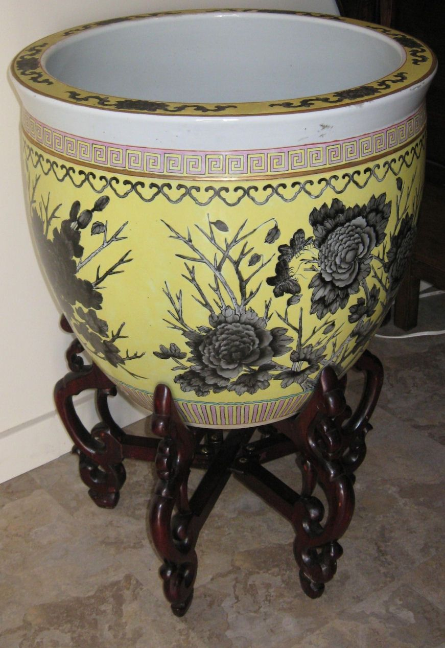 Chinese large hand painted fish bowl from for Large fish bowl