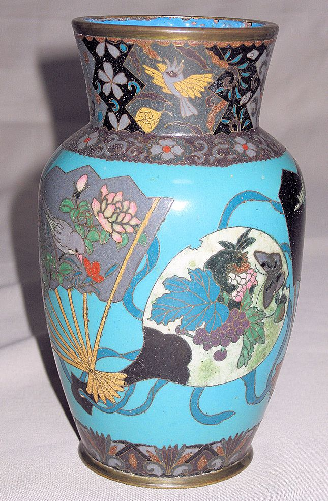 Exceptional Japanese Meiji Period Multi-Colored Cloisonné Vase