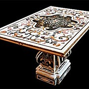 "Elegant Italian ""Pietra Dura"" Inlaid Marble Table"