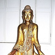Exquisite 19th Century Thai Gilt Wood Standing Buddha