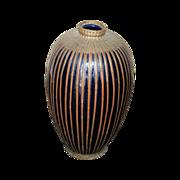 Meiji Period Japanese Porcelain Vase with Basket Woven Metal Overlay