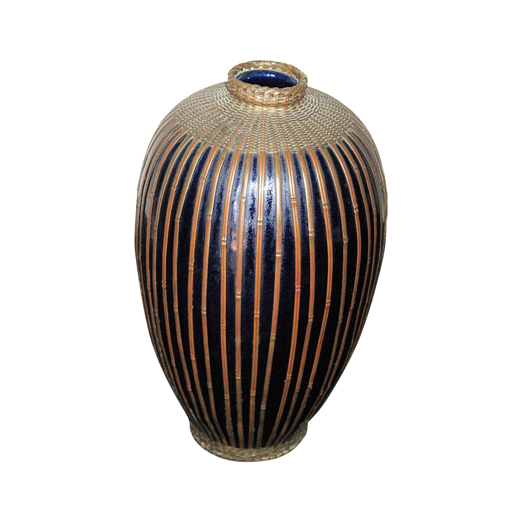 Meiji Period Japanese Porcelain Vase with Basket Woven Metal Overlay