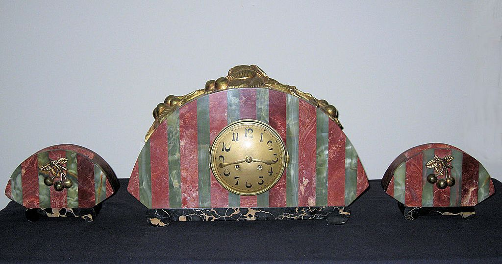 Beautiful French Art Deco Marble Clock Garniture Set