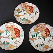 Three Japanese Imari Porcelain Plates from the Meiji Period