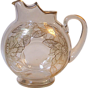 Vintage Elegant Clear Glass Pitcher Gold Overlay Deposit Floral Frosted Petals Ice Lip 80 Ounce National SDW Co.