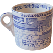 Crown Devon Fieldings Yorkshiremans Advice Mug Blue and White Transfer Ware Staffordshire England