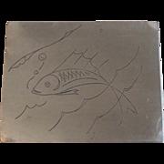 Vintage Frances Felten Pewter Cigarette Trinket Box with Fish Design Mid Century Modern - Red Tag Sale Item